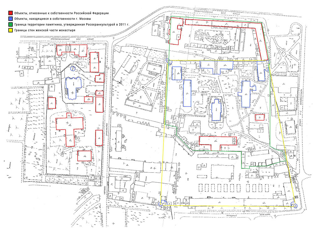 Схема ансамбля Преображенского старообрядческого монастыря с указанием хозяйствующих субъектов